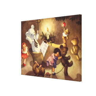 Vintage Christmas Toys, Dancing Dolls, Teddy Bears Gallery Wrapped Canvas