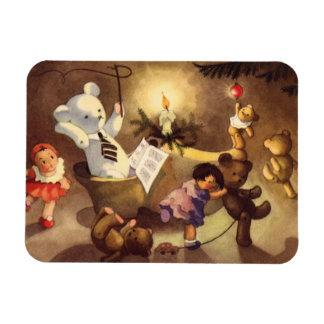 Vintage Christmas Toys, Dancing Dolls, Teddy Bears Rectangular Photo Magnet