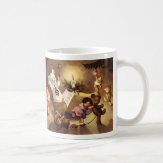 Vintage Christmas Toys Dancing, Teddy Bears, Dolls Coffee Mugs