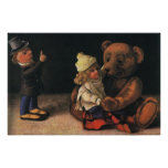 Vintage Christmas Toys, Doll and a Teddy Bear Poster