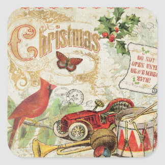 Vintage Christmas Toys Square Sticker