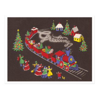 Vintage Christmas Train Postcard