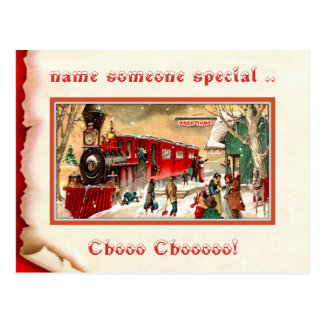 Vintage Christmas Train Station  Postcard
