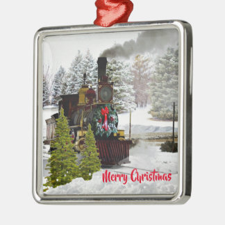 Vintage Christmas Train with Snow and Greeting Metal Ornament
