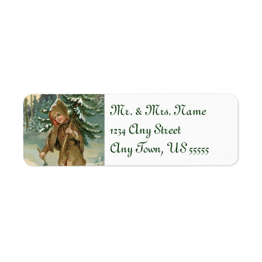 Vintage Christmas Tree Address Labels
