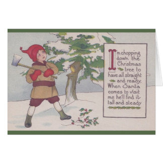 Vintage Christmas Tree Cutting Greeting Card