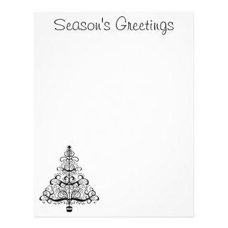 Vintage Christmas Tree Decorative Victorian Scroll Letterhead