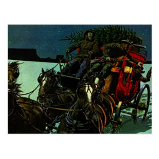 Vintage Christmas Tree delivery west stagecoach Postcard