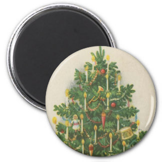Vintage Christmas Tree Greetings Magnet
