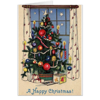 Vintage Christmas Tree Happy Christmas Card