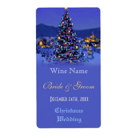 Vintage Christmas tree holiday wedding wine label Shipping Label