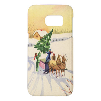Vintage Christmas Tree on a Snowy Winter Road Samsung Galaxy S7 Case