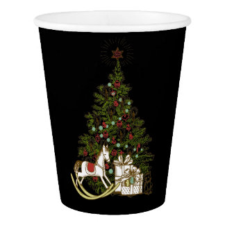 Vintage Christmas Tree Paper Cups