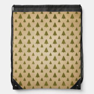 Vintage Christmas Tree Pattern Drawstring Bag