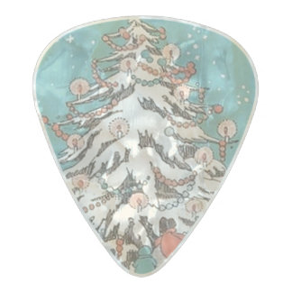 Vintage Christmas Tree Pearl Celluloid Guitar Pick