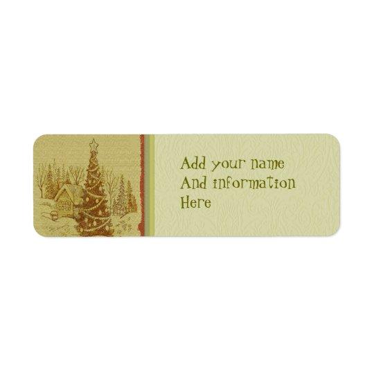 Vintage Christmas Tree Return Address Label