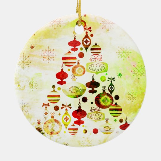 Vintage Christmas Tree Watercolor Ornaments