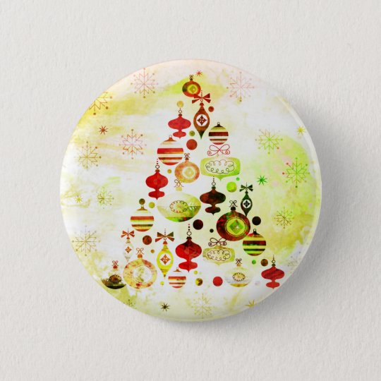 Vintage Christmas Tree Watercolor Ornaments 2 Inch Round Button