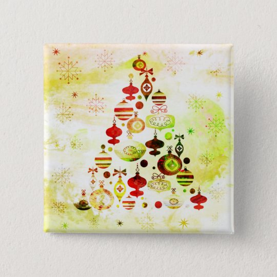 Vintage Christmas Tree Watercolor Ornaments 2 Inch Square Button