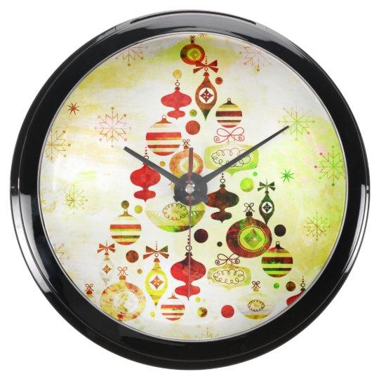 Vintage Christmas Tree Watercolor Ornaments Aquavista Clocks