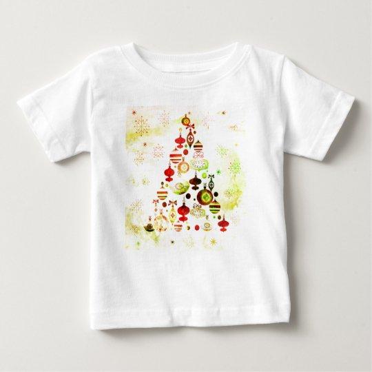 Vintage Christmas Tree Watercolor Ornaments Baby T-Shirt