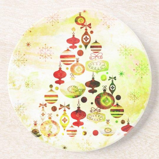 Vintage Christmas Tree Watercolor Ornaments Coaster