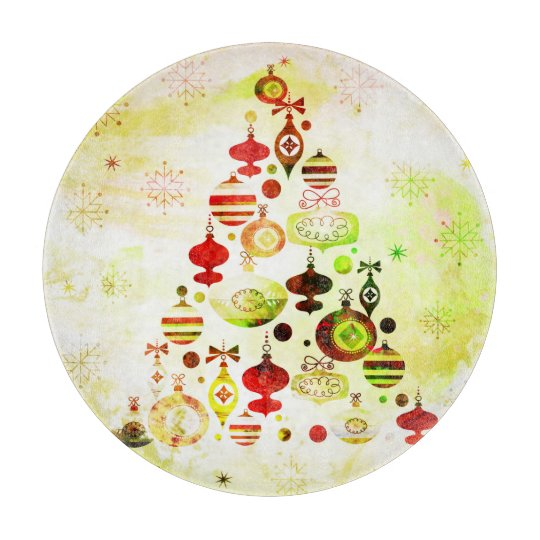 Vintage Christmas Tree Watercolor Ornaments Cutting Board