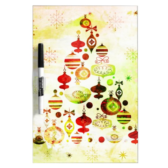 Vintage Christmas Tree Watercolor Ornaments Dry Erase Board