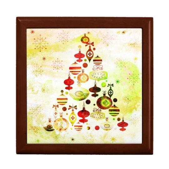 Vintage Christmas Tree Watercolor Ornaments Gift Box