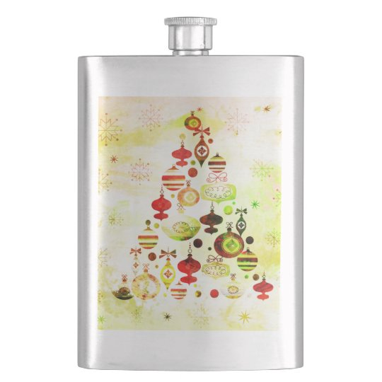 Vintage Christmas Tree Watercolor Ornaments Hip Flask