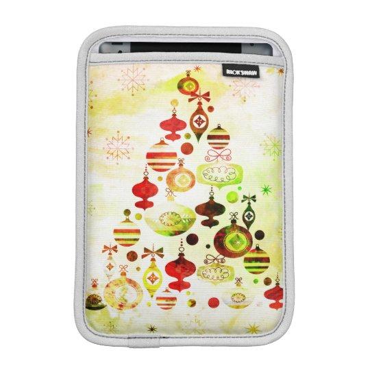 Vintage Christmas Tree Watercolor Ornaments iPad Mini Sleeve