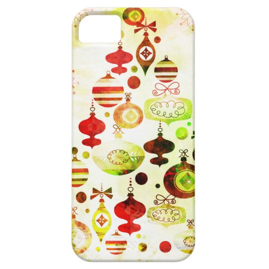 Vintage Christmas Tree Watercolor Ornaments iPhone 5 Cover