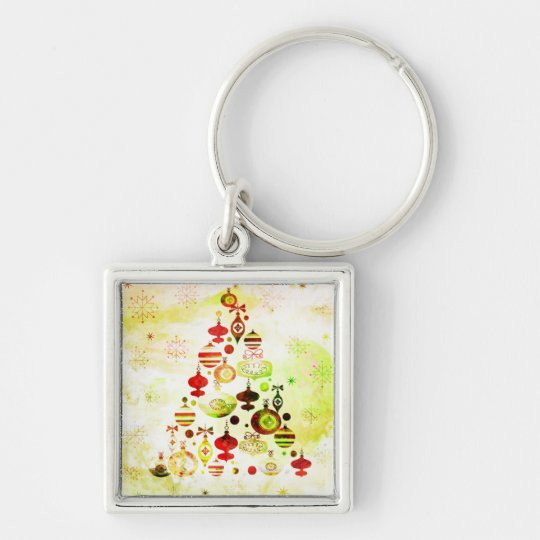 Vintage Christmas Tree Watercolor Ornaments Keychain