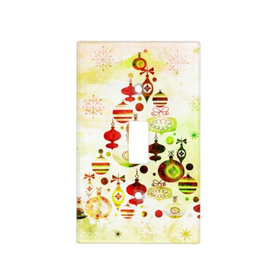 Vintage Christmas Tree Watercolor Ornaments Light Switch Cover