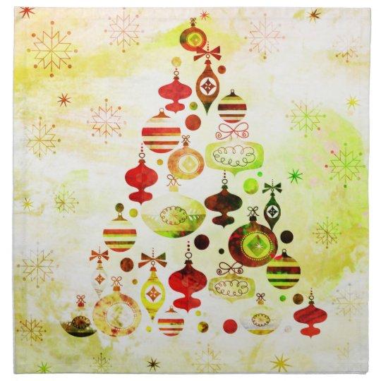 Vintage Christmas Tree Watercolor Ornaments Napkin