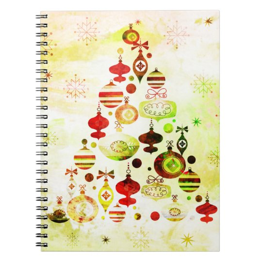 Vintage Christmas Tree Watercolor Ornaments Notebooks