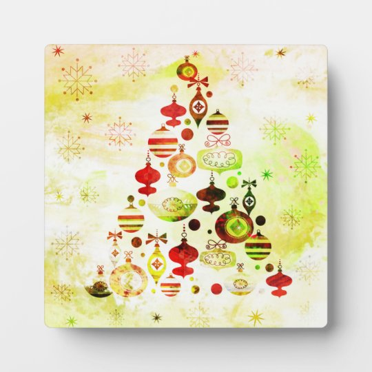 Vintage Christmas Tree Watercolor Ornaments Plaque