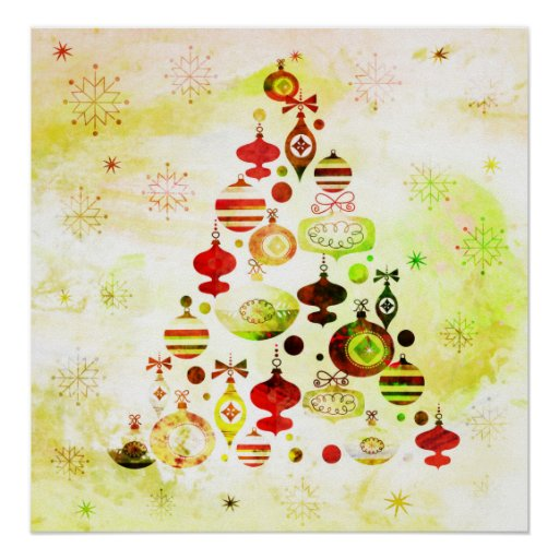 Vintage Christmas Tree Watercolor Ornaments Poster