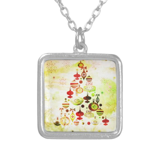 Vintage Christmas Tree Watercolor Ornaments Silver Plated Necklace