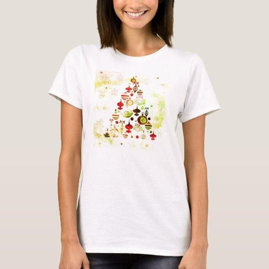 Vintage Christmas Tree Watercolor Ornaments T-Shirt