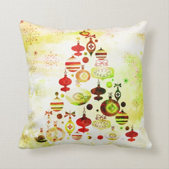 Vintage Christmas Tree Watercolor Ornaments Throw Pillow