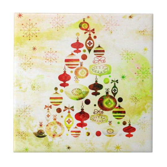 Vintage Christmas Tree Watercolor Ornaments Tile