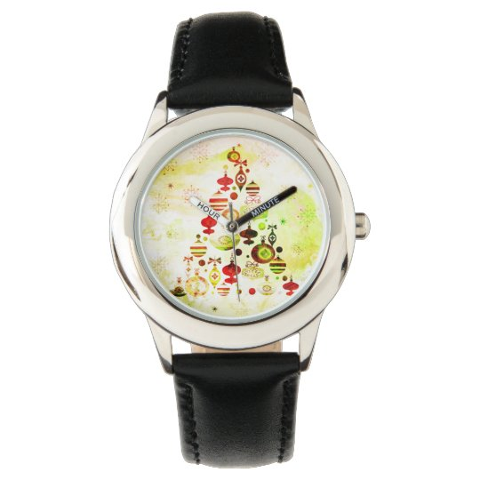 Vintage Christmas Tree Watercolor Ornaments Watch