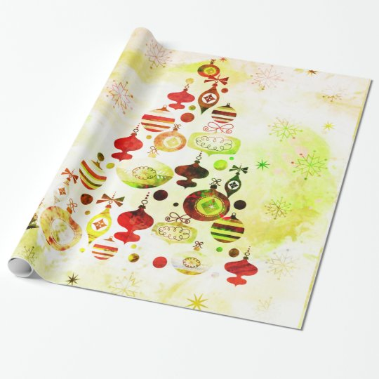 Vintage Christmas Tree Watercolor Ornaments Wrapping Paper