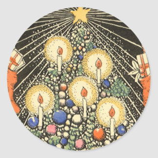 Vintage Christmas, Tree with Candles and a Star Round Sticker