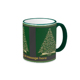 Vintage Christmas Trees in Green & Gold Mugs