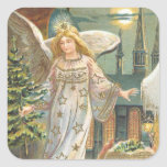 Vintage Christmas Victorian Angel Church Tree Moon Sticker