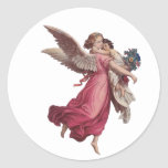 Vintage Christmas, Victorian Angel Holding a Child Round Stickers