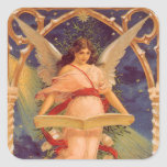 Vintage Christmas, Victorian Angel Reading Bible Square Sticker