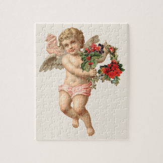 Vintage Christmas, Victorian Angel w Floral Wreath Jigsaw Puzzle